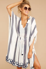 Before Sunset Navy Stripe Cover Up