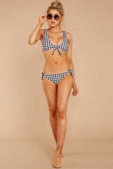 1 Making Waves Black Gingham Bikini Top at reddressboutique.com