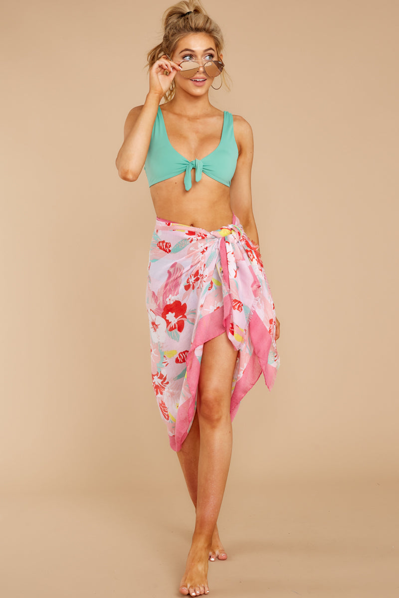 4 Catching Rays Pink Palm Print Scarf at reddressboutique.com