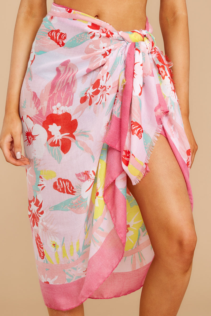 1 Catching Rays Pink Palm Print Scarf at reddressboutique.com