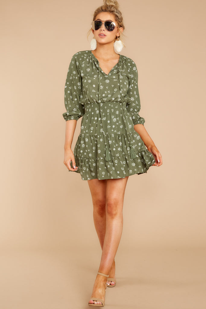 1 Fairy Gardens Kelly Green Floral Print Dress at reddressboutique.com