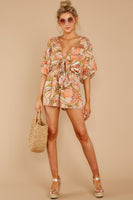 Tall V-neck Floral Tropical Print Elasticized Waistline Plunging Neck Rayon Evening Dress/Romper
