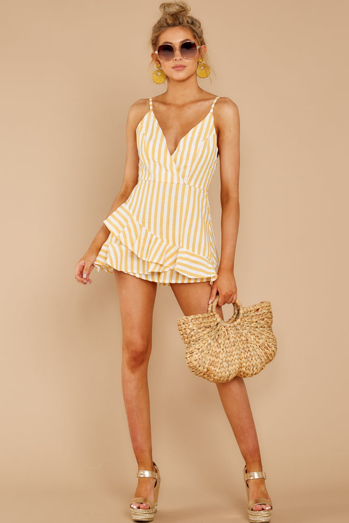 1 Direct Flight Beige And White Stripe Romper at reddressboutique.com