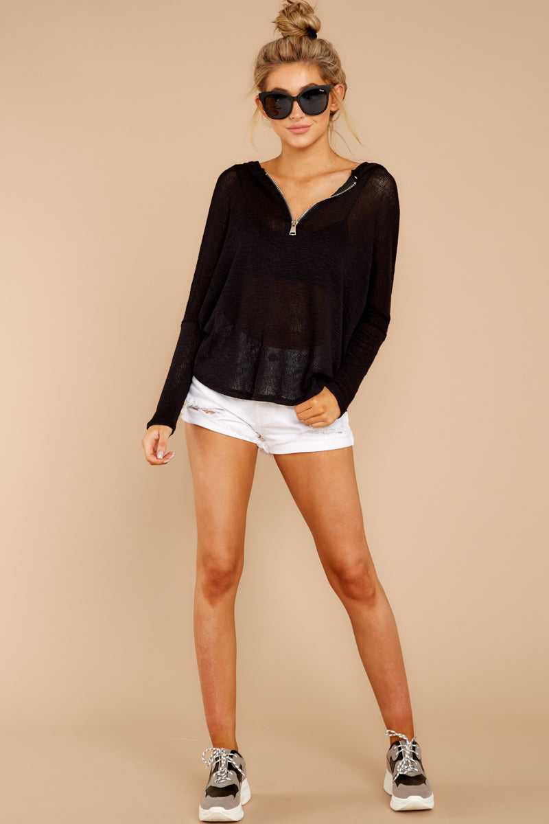 2 Close To Me Black Lightweight Knit Hoodie at redddressboutique.com
