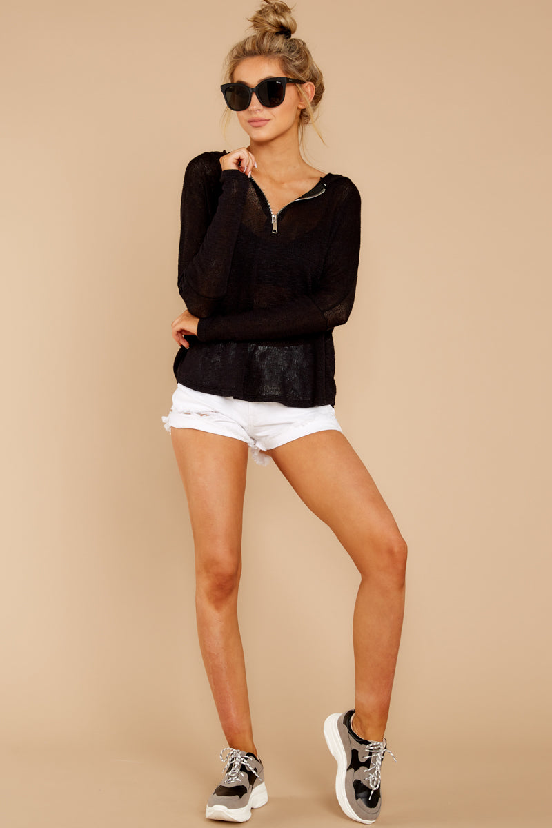 4 Close To Me Black Lightweight Knit Hoodie at redddressboutique.com