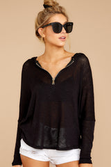 5 Close To Me Black Lightweight Knit Hoodie at redddressboutique.com
