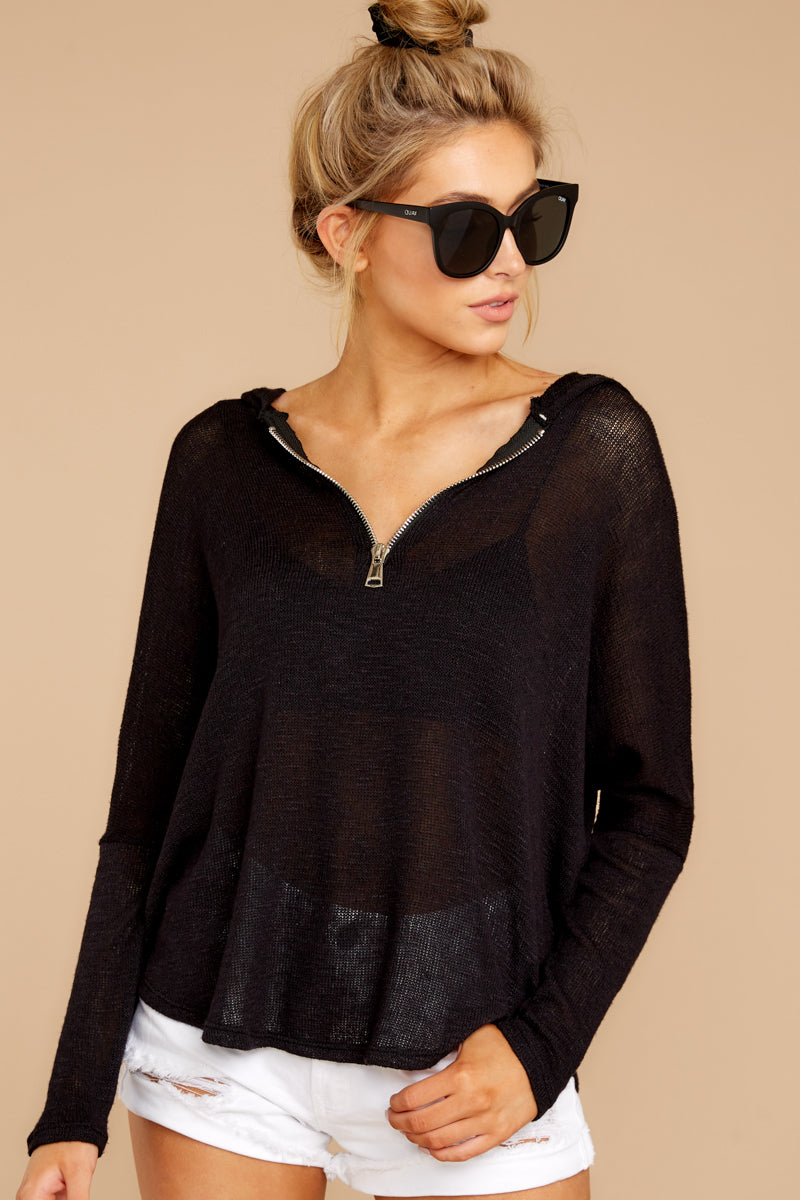 6 Close To Me Black Lightweight Knit Hoodie at redddressboutique.com