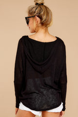 9 Close To Me Black Lightweight Knit Hoodie at redddressboutique.com