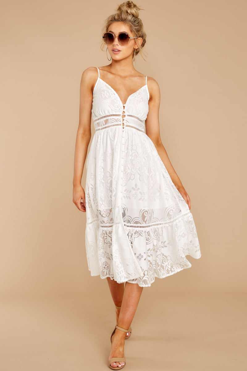 2 Hey Sister White Lace Midi Dress at reddressboutique.com