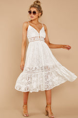 3 Hey Sister White Lace Midi Dress at reddressboutique.com