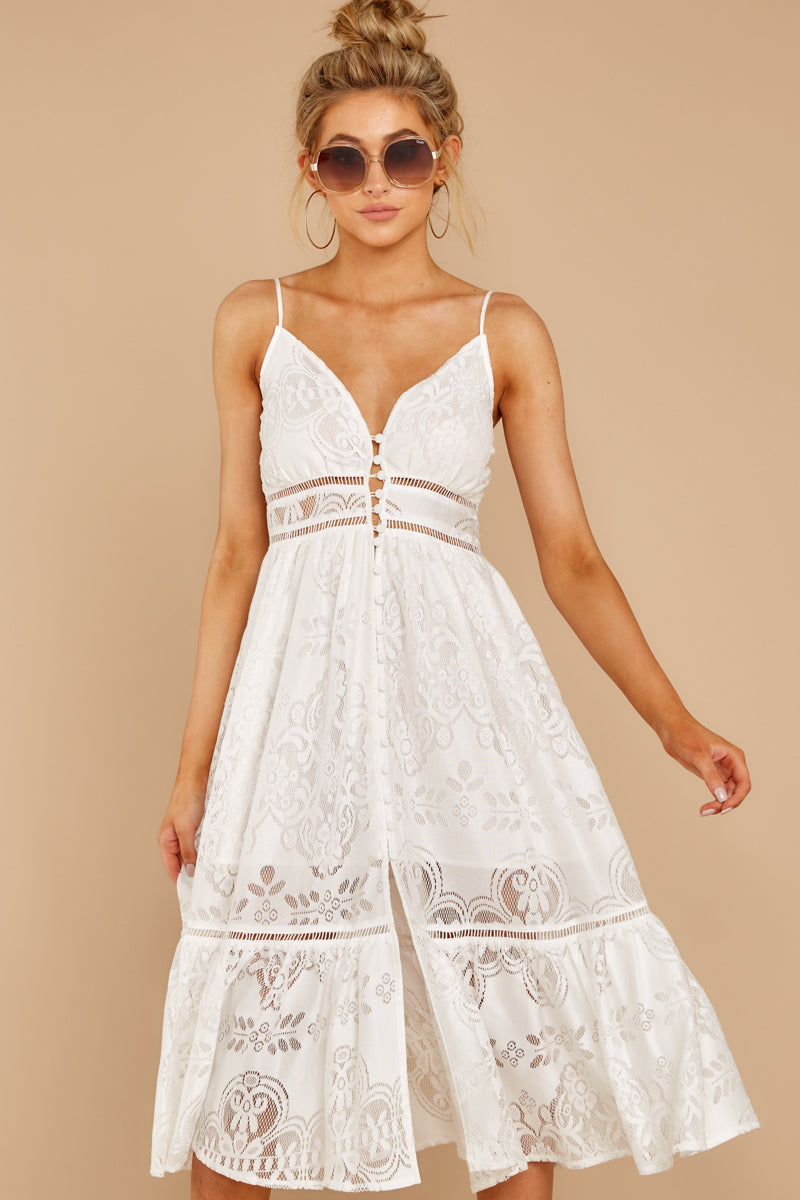 Hey Sister White Lace Midi Dress