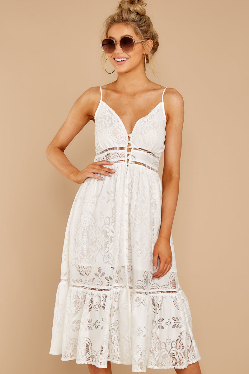 6 Hey Sister White Lace Midi Dress at reddressboutique.com