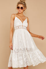 5 Hey Sister White Lace Midi Dress at reddressboutique.com