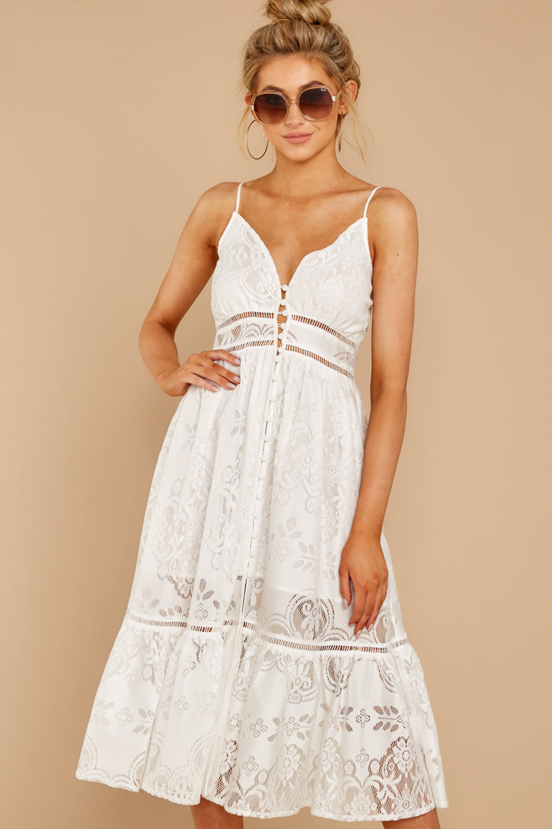 7 Hey Sister White Lace Midi Dress at reddressboutique.com