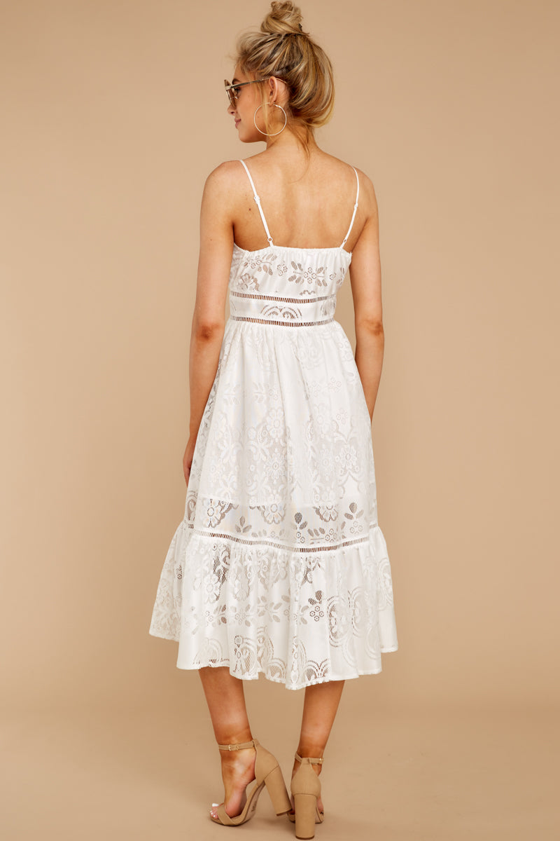 8 Hey Sister White Lace Midi Dress at reddressboutique.com