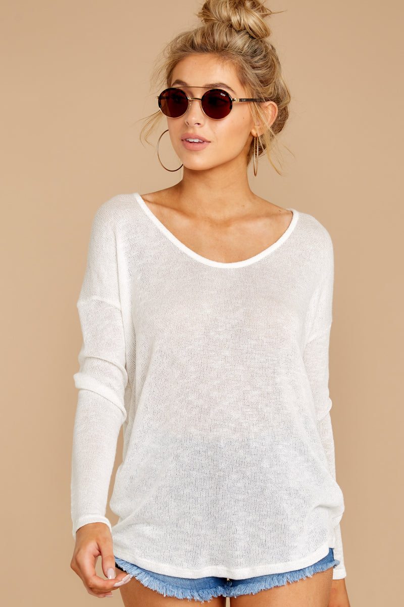 8 A Night In Ivory Knit Top at reddressboutique.com