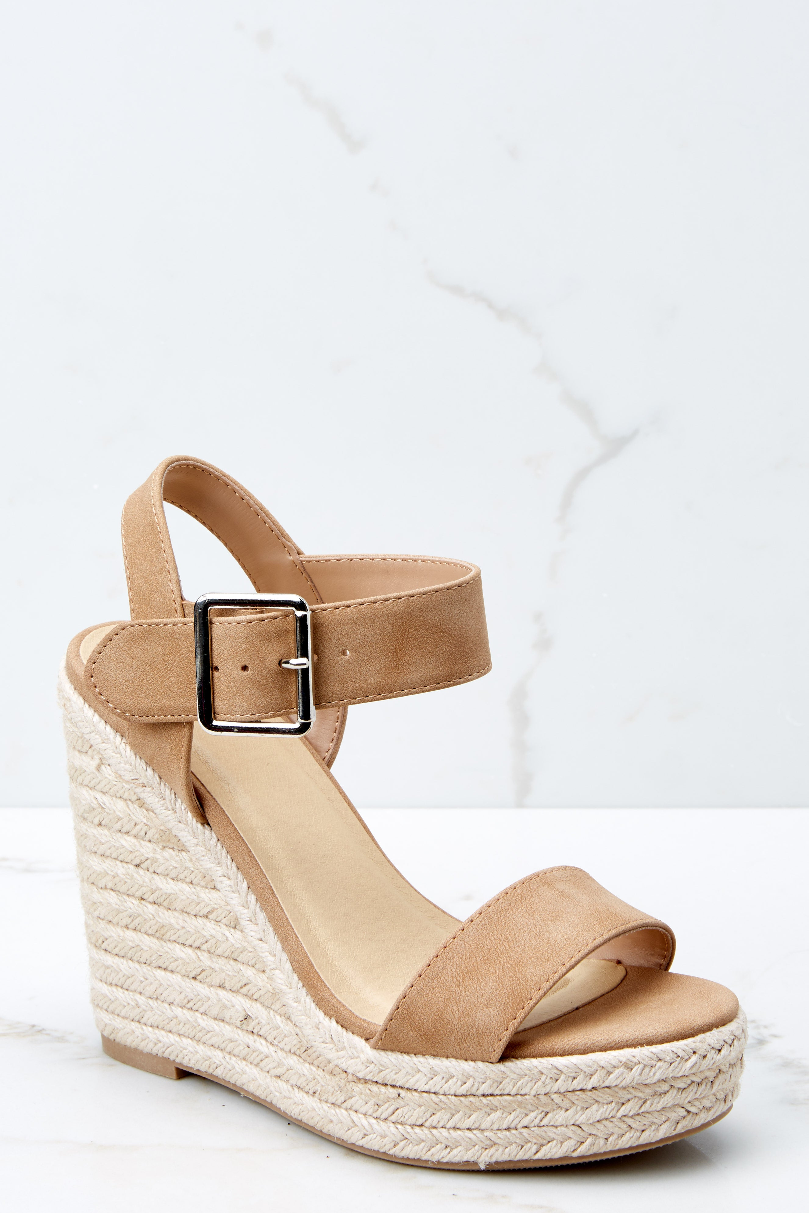 2 Teetering In The Unknown Beige Platform Wedges at reddressboutique.com