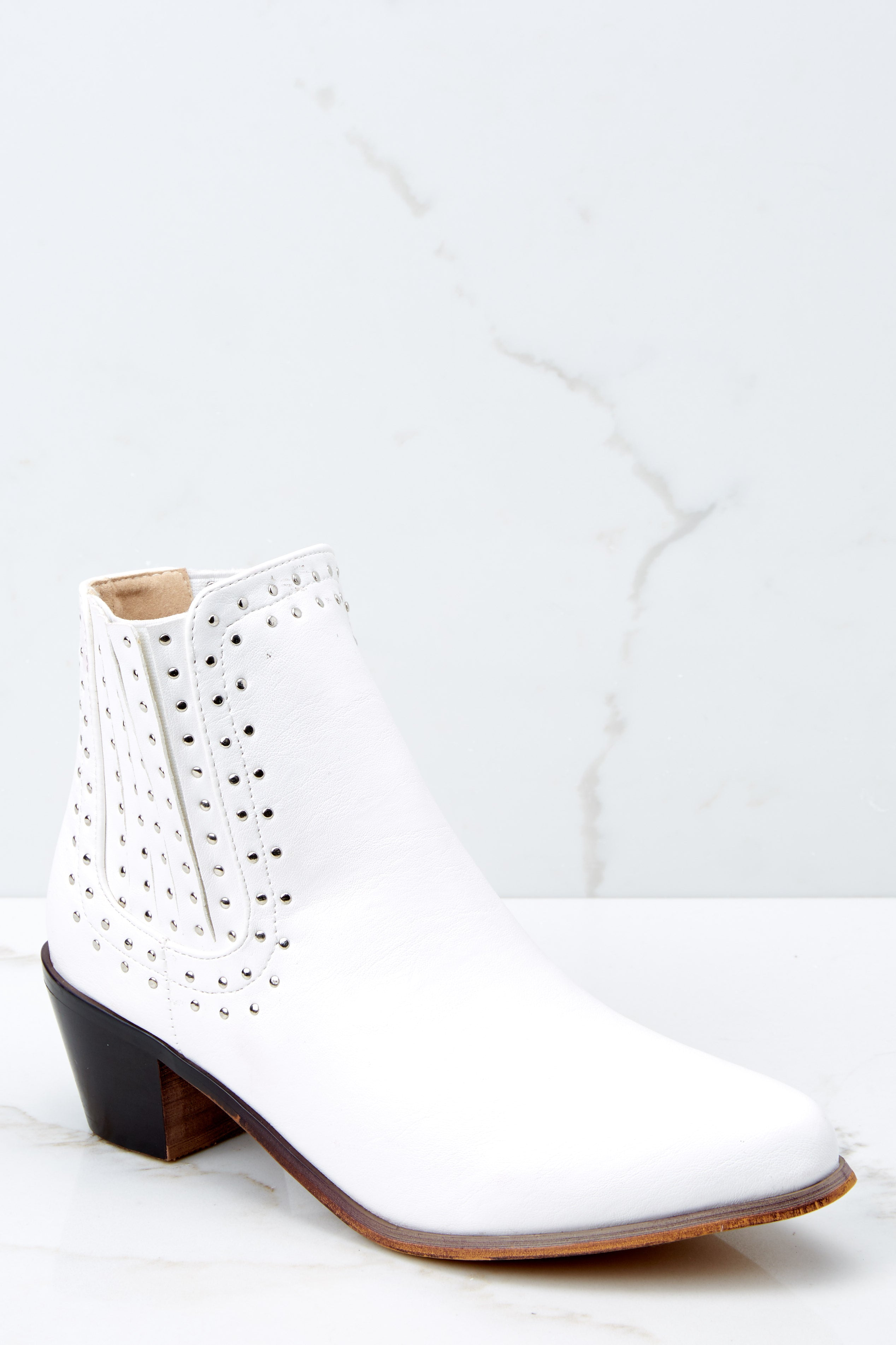 52b04b20f1d0b Trendy White Studded Ankle Boots - Vegan Leather Booties - Shoes ...