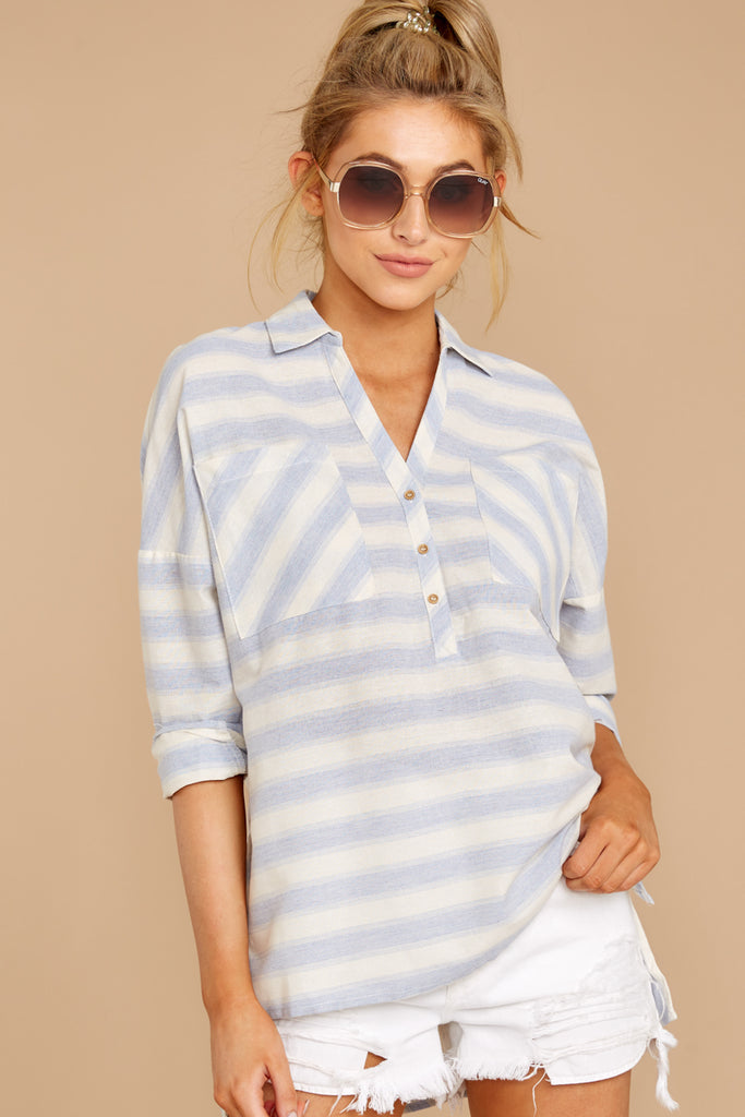 1 All To Myself Light Blue Stripe Tie Top at reddressboutique.com