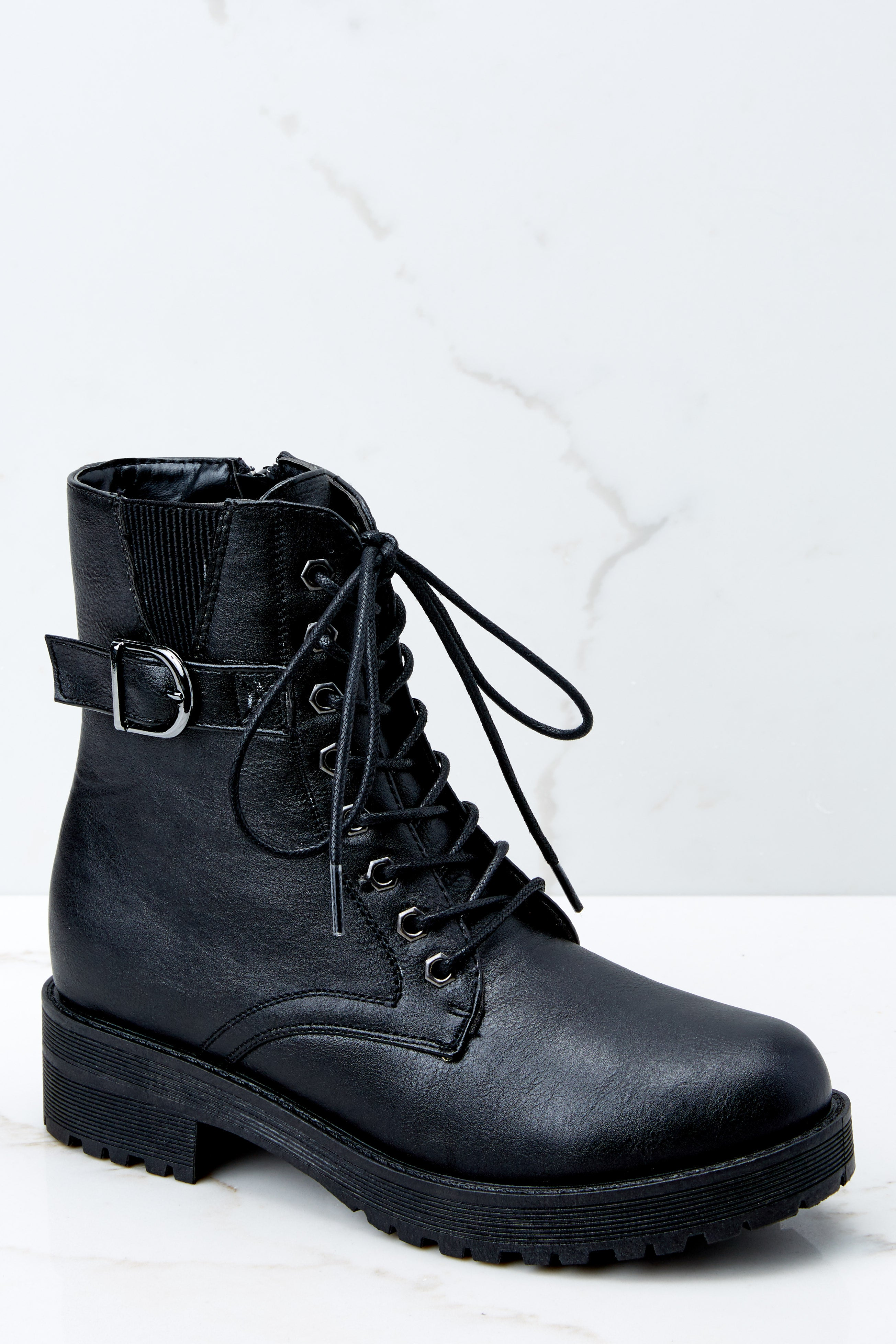 3 They Say Black Lace Up Combat Boots at reddressboutique.com