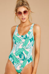 6 Feeling Salty Pink And Green Leaf Print One Piece at reddressboutique.com