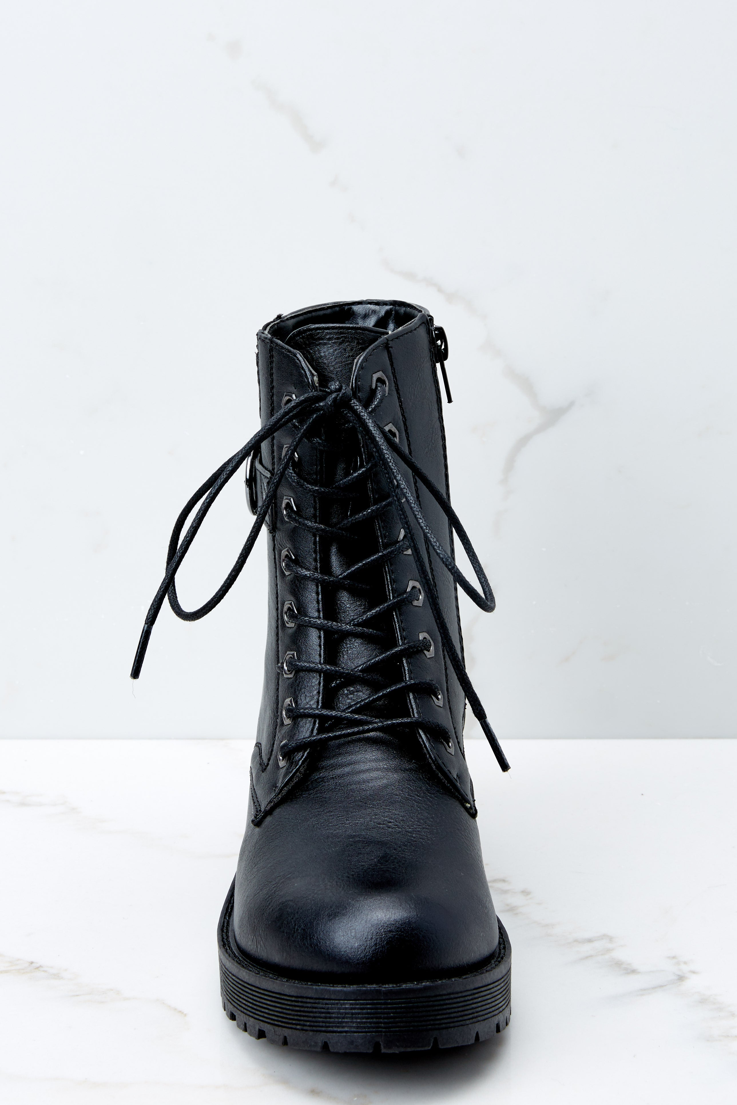 4 They Say Black Lace Up Combat Boots at reddressboutique.com