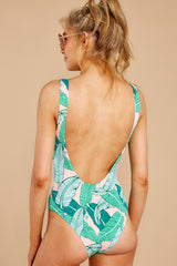 8 Feeling Salty Pink And Green Leaf Print One Piece at reddressboutique.com