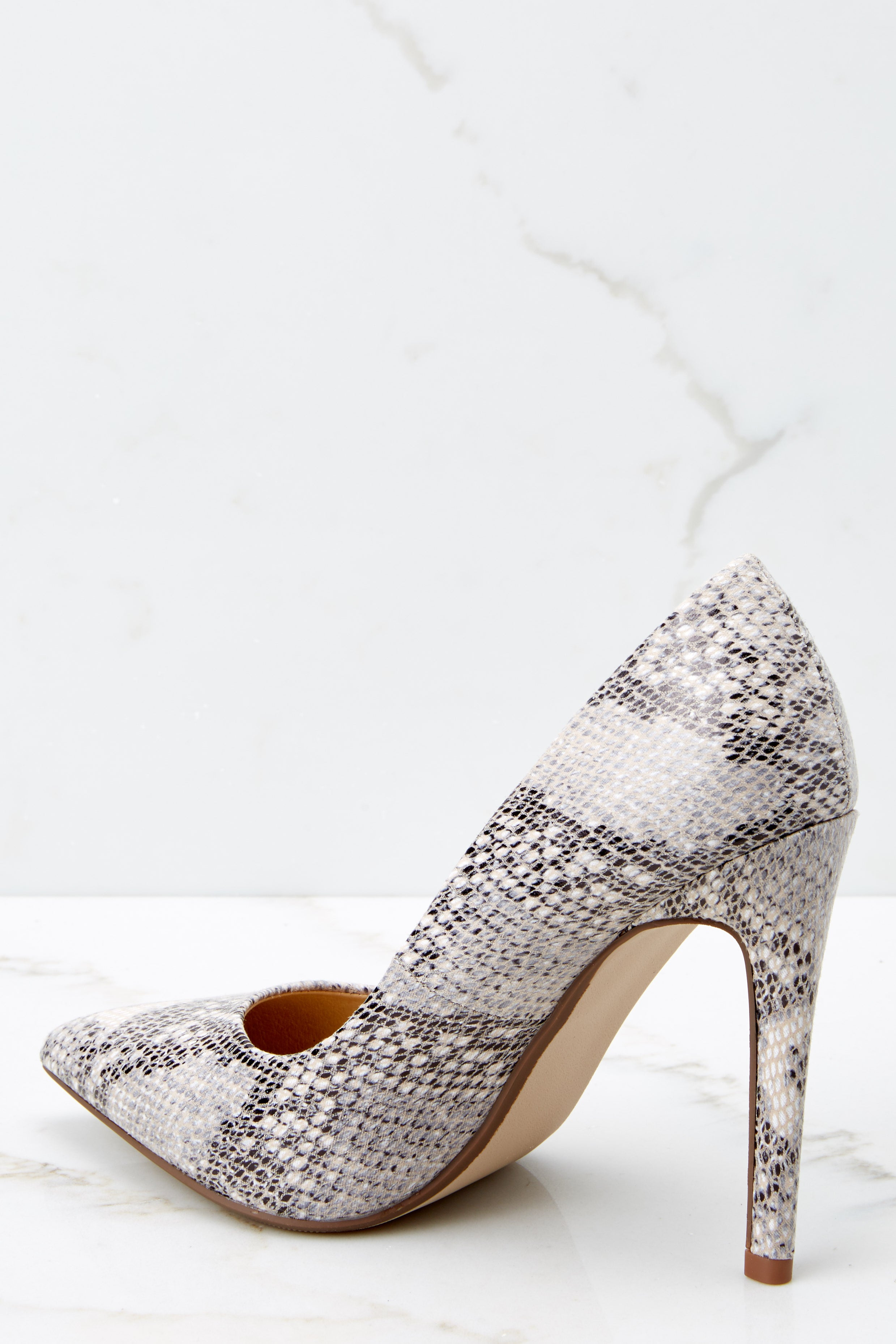Picture Perfect Beige Snakeskin Pointed Pumps