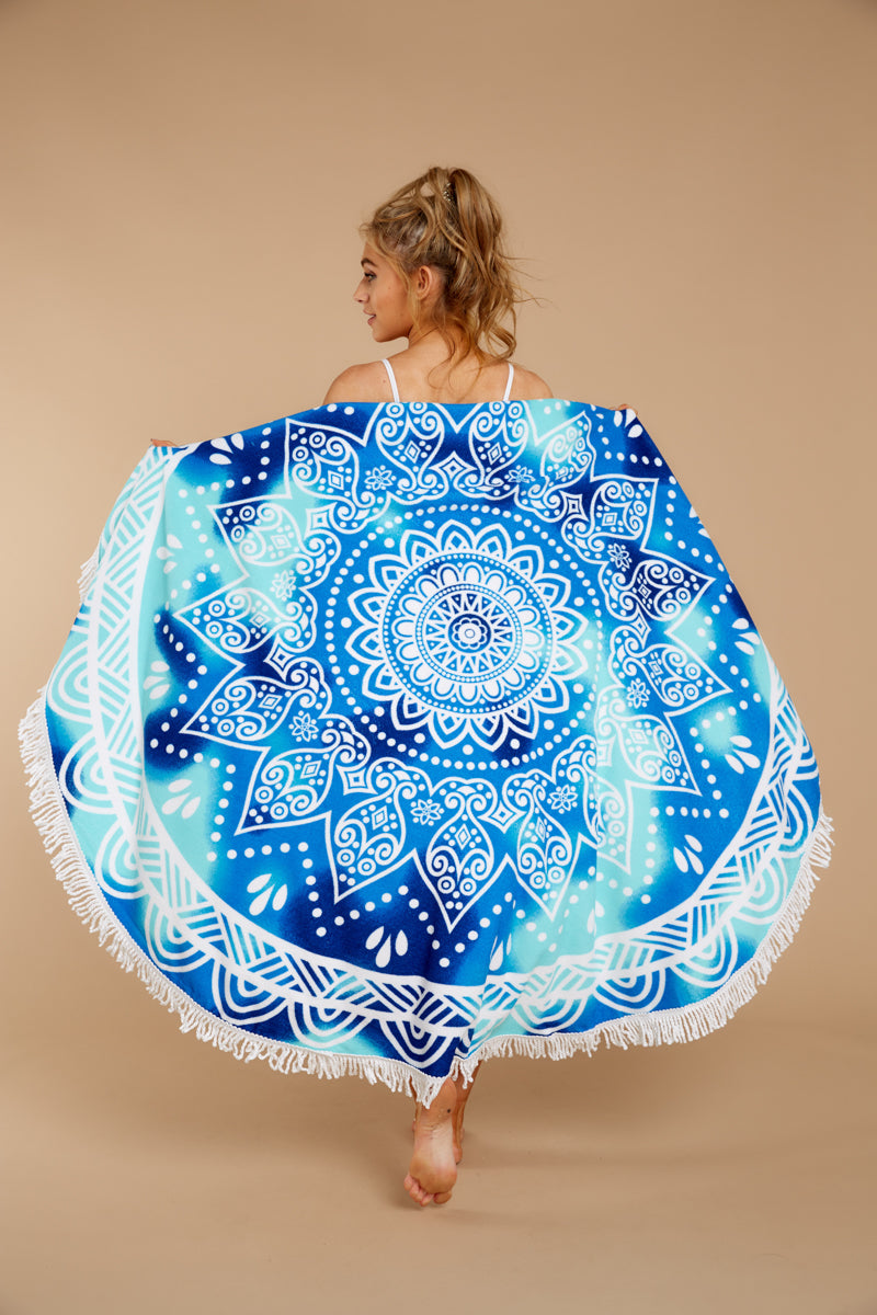 1 Sea Gaze Blue Multi Mandala Print Round Towel at reddressboutique.com