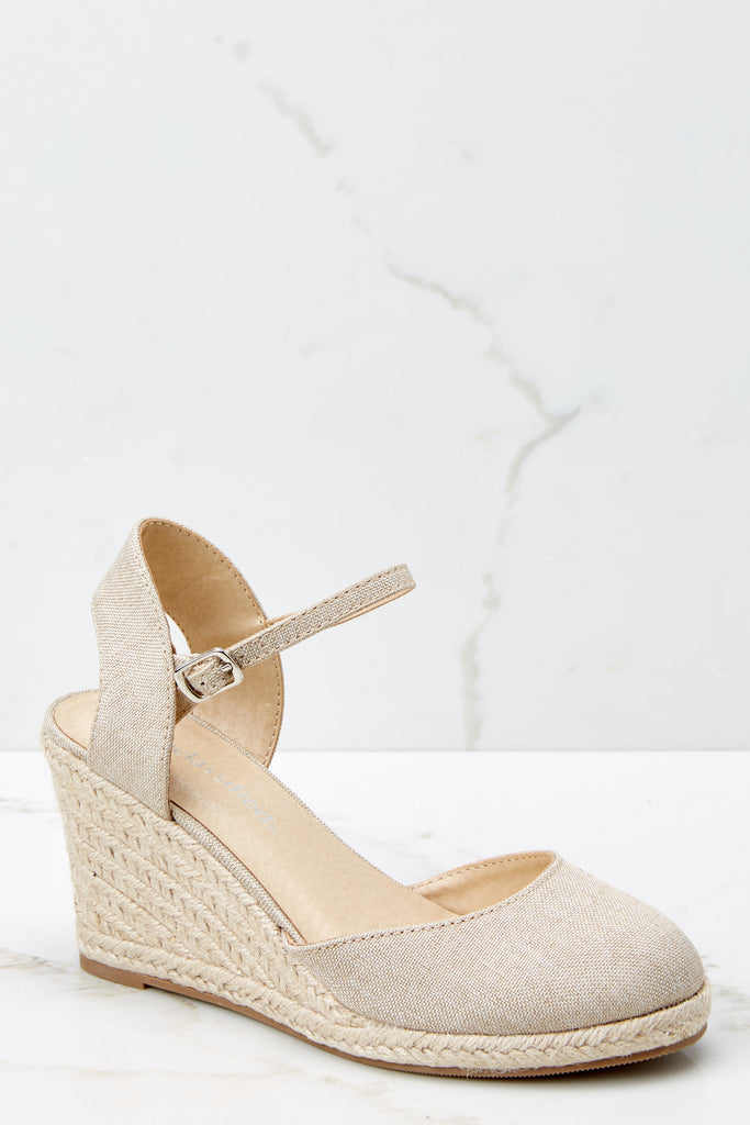 1 Walking On Sunshine Sand Platform Wedges at reddressboutique.com
