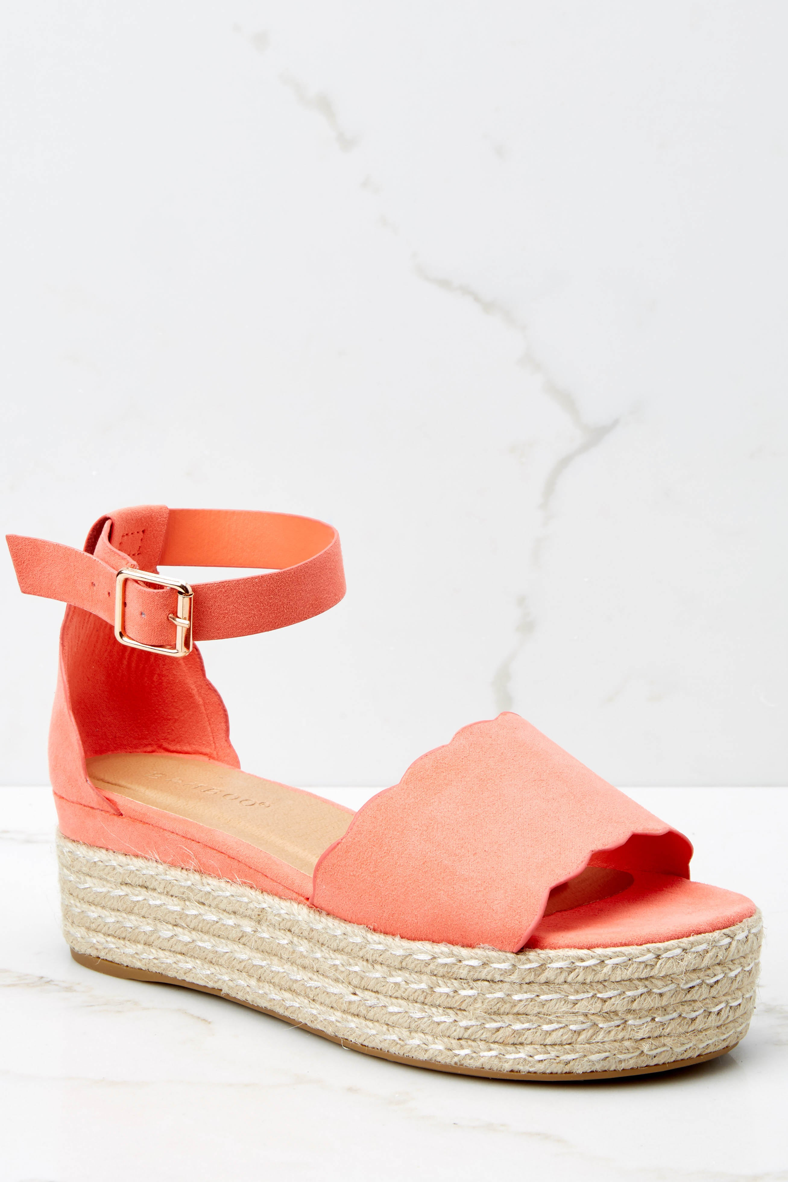 greatvarieties big discount shoes for cheap Whatever Whenever Coral Flatform Sandals