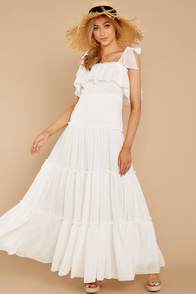 1 Who Goes There White Eyelet Midi Dress at reddress.com