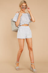 1 The Last Second Grey Gingham Two Piece Set at reddressboutique.com