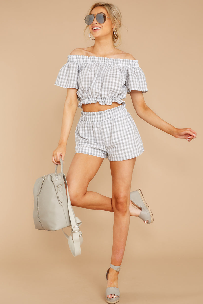 3 The Last Second Grey Gingham Two Piece Set at reddressboutique.com