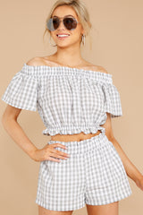 5 The Last Second Grey Gingham Two Piece Set at reddressboutique.com