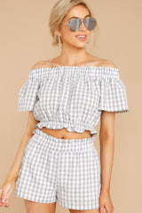6 The Last Second Grey Gingham Two Piece Set at reddressboutique.com