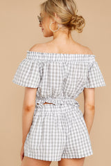 8 The Last Second Grey Gingham Two Piece Set at reddressboutique.com