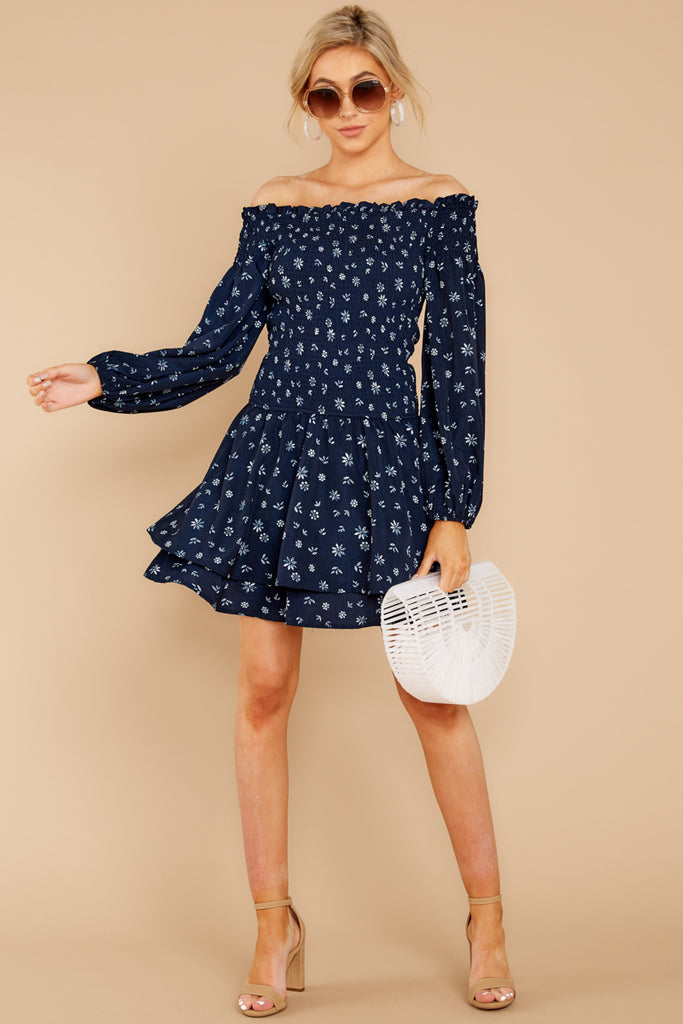1 Blowing Kisses Navy Blue Floral Print Dress at reddressboutique.com