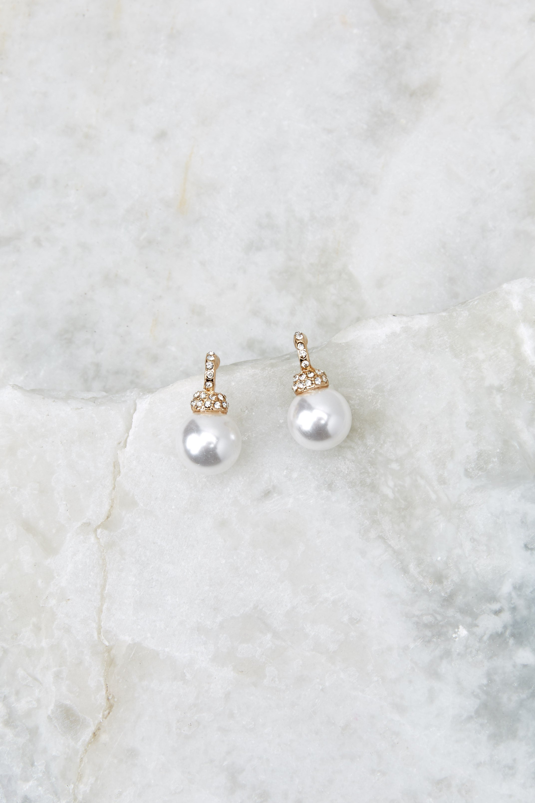 2 Take A Glisten Gold Pearl Earrings at reddressboutique.com