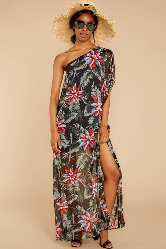 Topic Of Gossip Black Tropical Print Dress