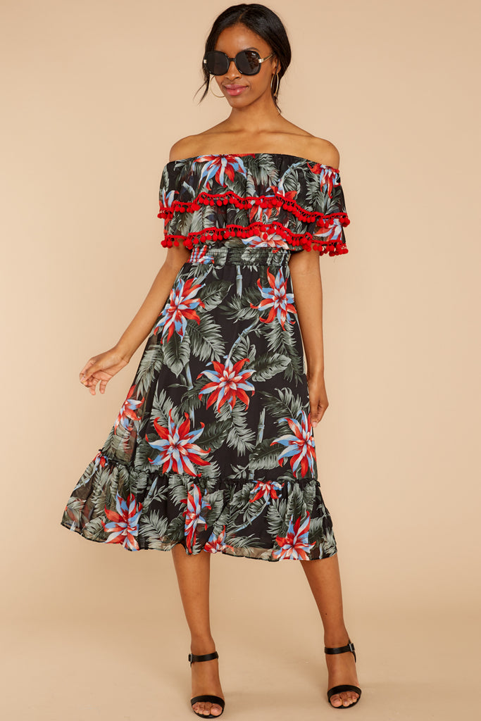 I Would Know Black Tropical Print One Shoulder Maxi Dress