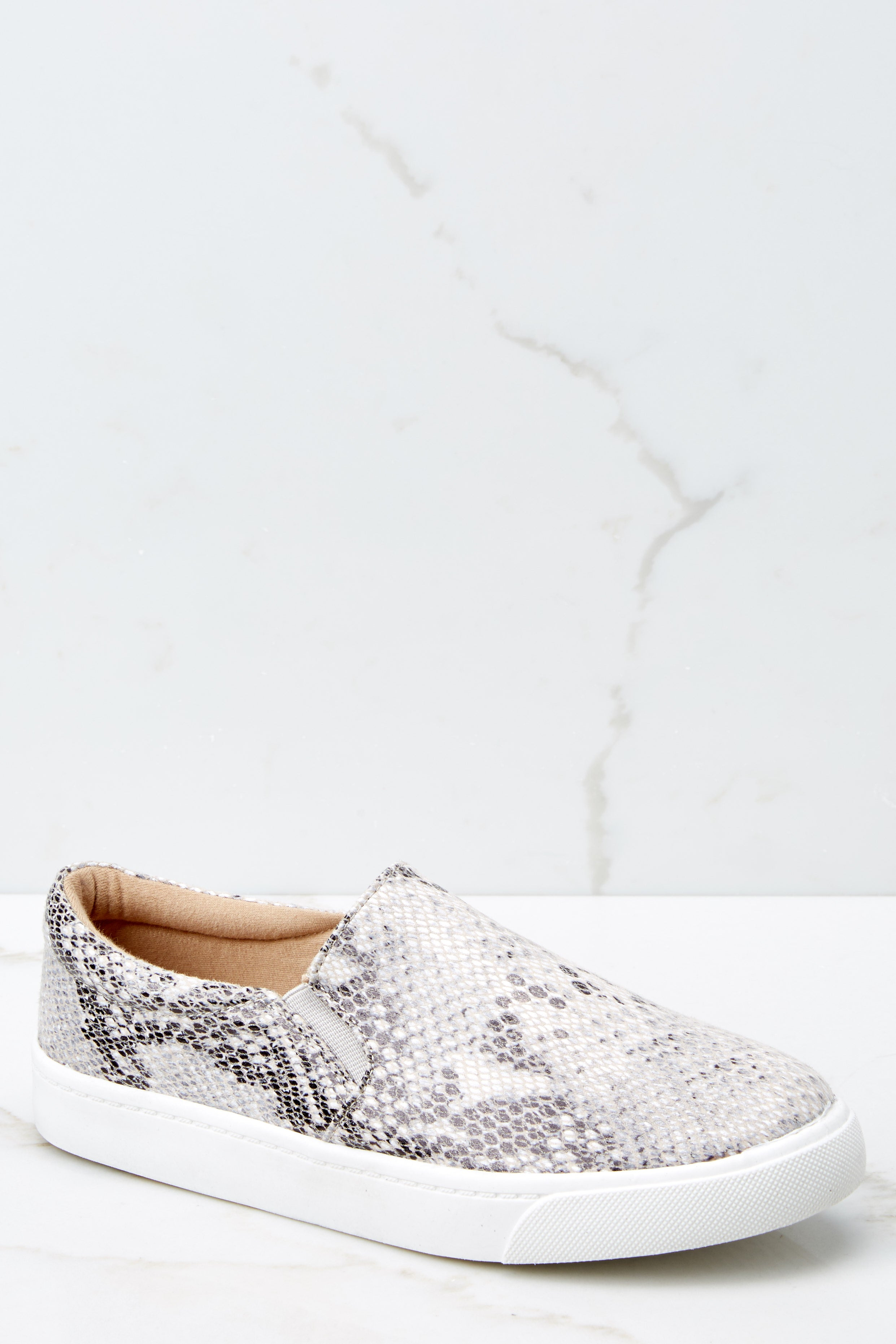 1 Follow The Beat Snake Print Slip On Sneakers at reddressboutique.com