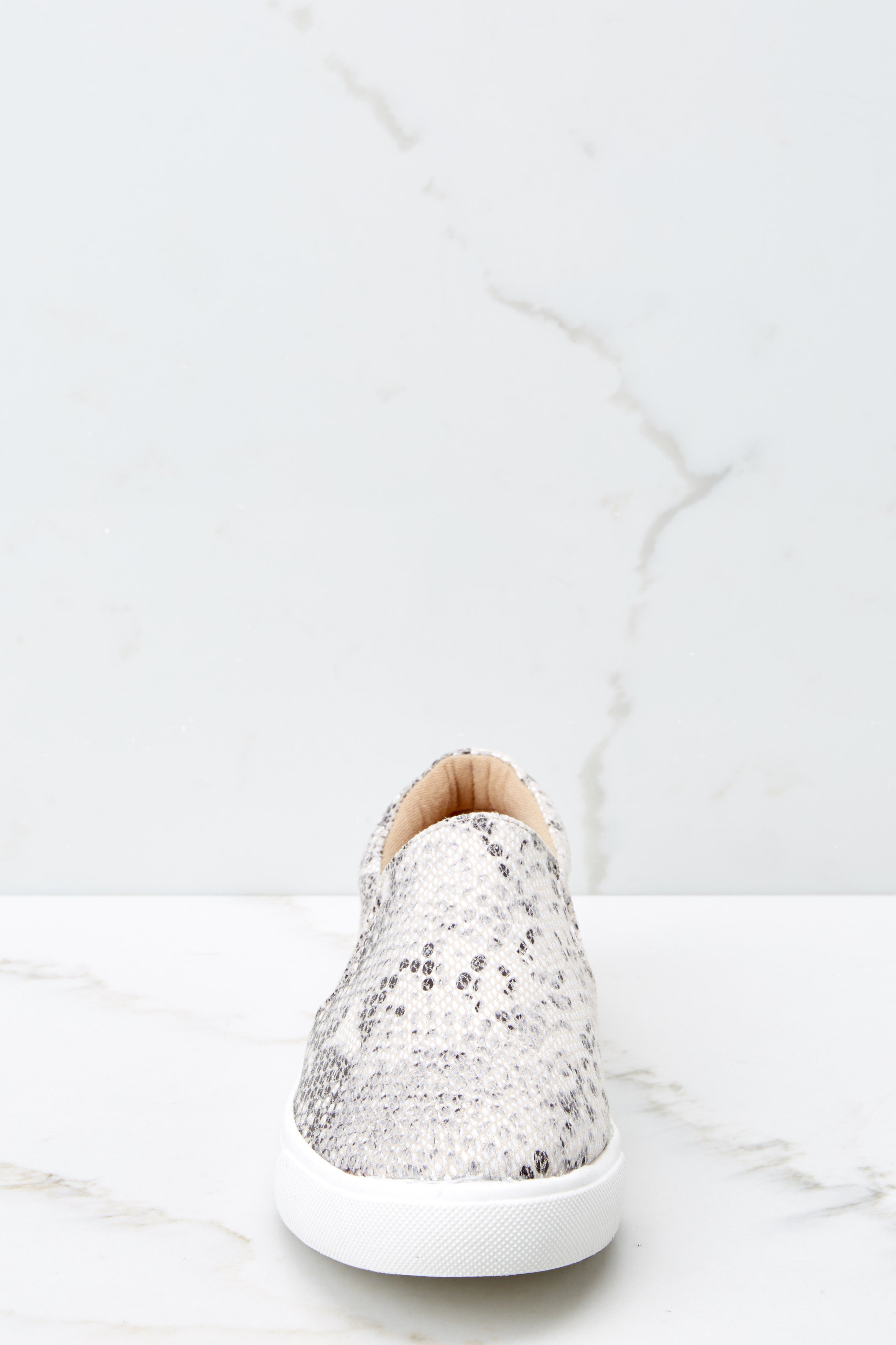 2 Follow The Beat Snake Print Slip On Sneakers at reddressboutique.com