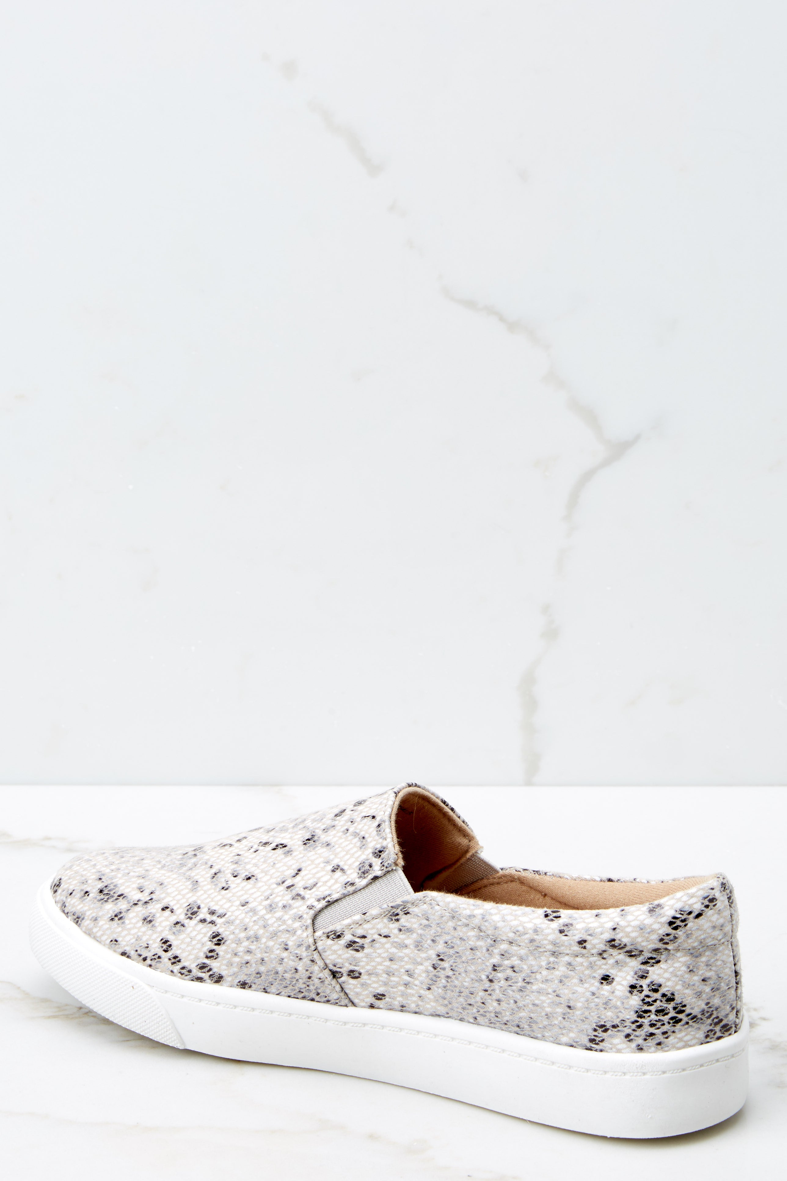 3 Follow The Beat Snake Print Slip On Sneakers at reddressboutique.com