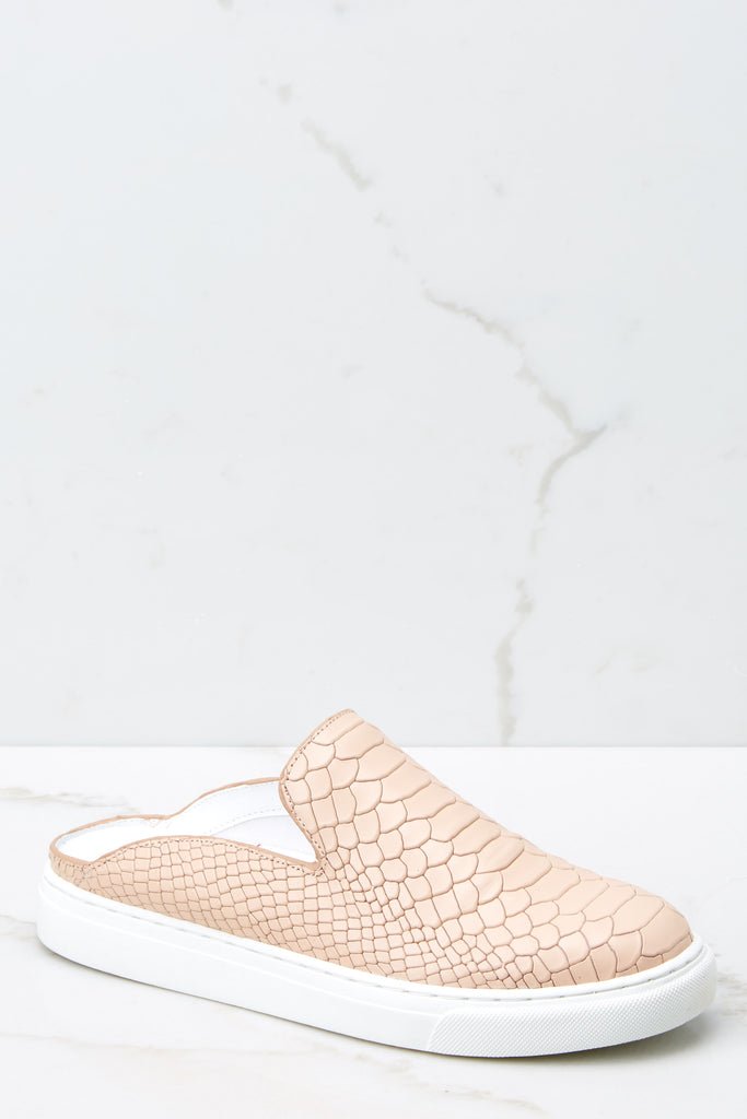 1 No Missteps Beige Snakeskin Slip On Sneakers at reddressboutique.com
