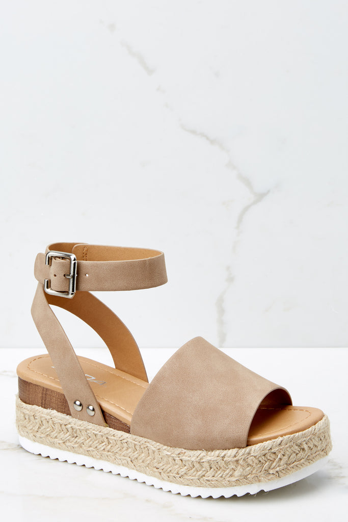 Going For Now Tan Flatform Sandals