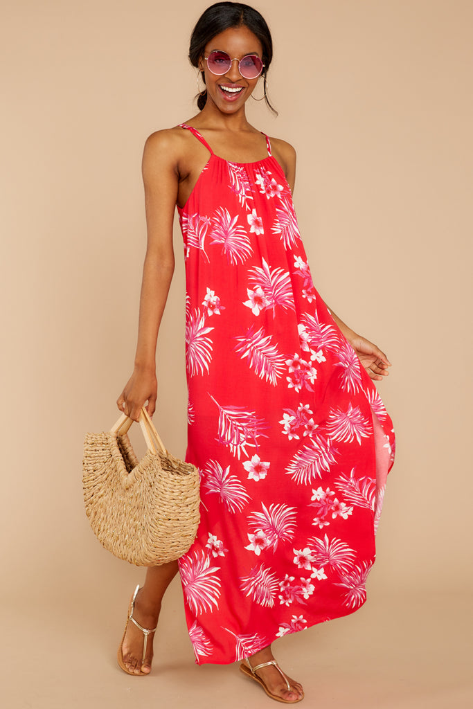 d60968edc30 Keep Talking Red And Pink Palm Print Maxi Dress