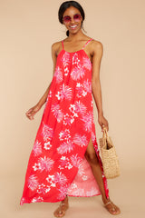 2 Keep Talking Red And Pink Palm Print Maxi Dress at reddressboutique.com