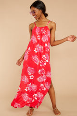 3 Keep Talking Red And Pink Palm Print Maxi Dress at reddressboutique.com