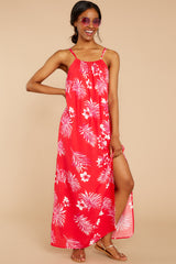 4 Keep Talking Red And Pink Palm Print Maxi Dress at reddressboutique.com